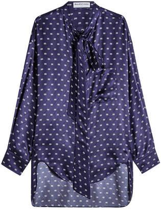 Balenciaga Silk Crepe Printed Blouse