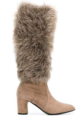 Casadei faux fur under-the-knee boots