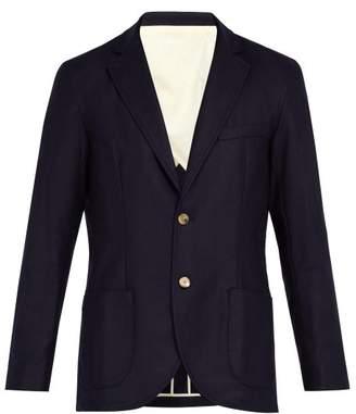 De Bonne Facture - Single Breasted Wool Flannel Blazer - Mens - Navy