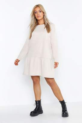 boohoo Plus Drop Hem Crew Neck Sweat Dress