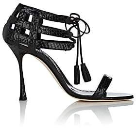 Manolo Blahnik Women's Irisny Snakeskin Sandals - Black