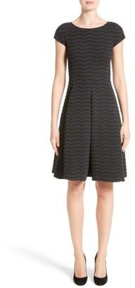 Women's Armani Collezioni Embossed Jacquard Jersey A-Line Dress $945 thestylecure.com