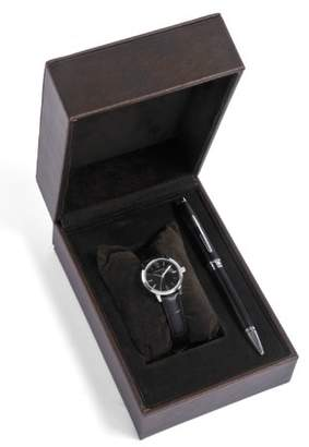 Cross Gift-Set Women's Quartz Watch with Black Dial Analogue Display and Black Leather Strap CR4001