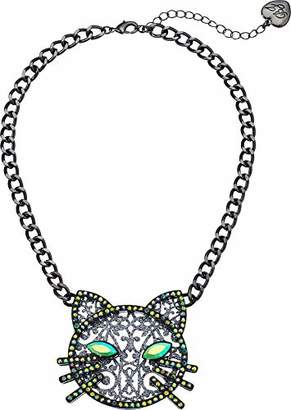 Betsey Johnson GBG) Betsey's Dark Magic Cat Pendant Necklace