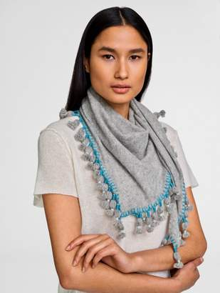 White + Warren Cashmere Triangle Tassel Scarf