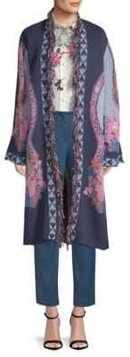 Etro Floral Fringed Knit Coat