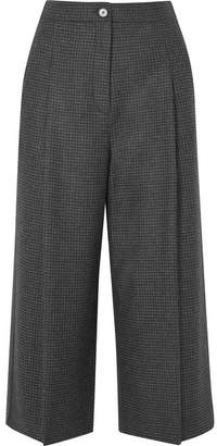 McQ Cropped Prince Of Wales Checked Wool Wide-leg Pants - Dark gray