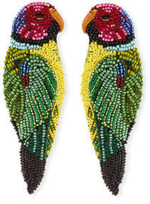 Mignonne Gavigan Embroidered Parrot Seed Bead Earrings