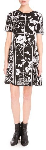 KenzoKenzo Tanami Flower Jacquard Mini Dress, Black