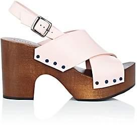 Barneys New York Women's Crisscross-Strap Leather Clog Sandals - Rose