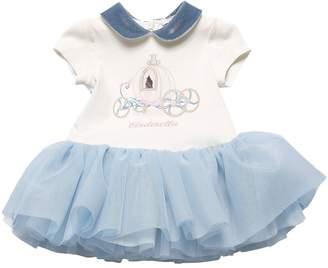 MonnaLisa Jersey & Glittered Tulle Dress