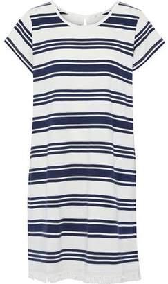 Joie Nanae Fringe-Trimmed Striped Cotton-Jersey Mini Dress