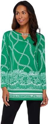 Susan Graver Printed Liquid Knit Long Sleeve Tunic w/ Keyhole