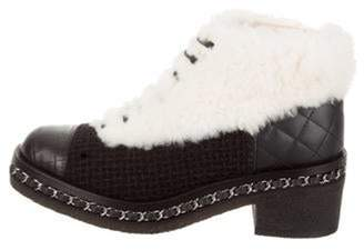 Chanel Shearling Chain-Link Ankle Boots Black Shearling Chain-Link Ankle Boots