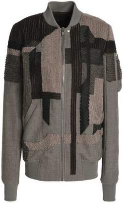 Rick Owens Patchwork-Effect Wool Bomber Jacket