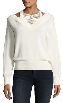 T by Alexander Wang Deep V Sweater with Inner Tank $325 thestylecure.com