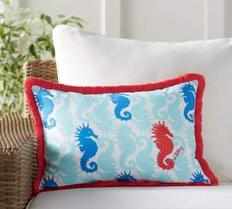 Pottery Barn Lilly Pulitzer Hold Your Horses Fringe Trim Indoor/Outdoor Pillow