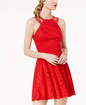 B. Darlin Juniors' Lace Double-Strap Fit & Flare Dress