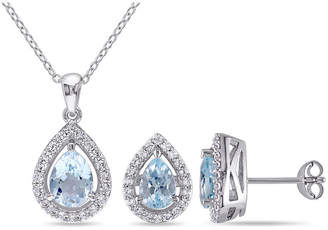 FINE JEWELRY Genuine Blue Topaz & Lab-Created White Sapphire Sterling Silver Earrings & Pendant 2-Piece Set