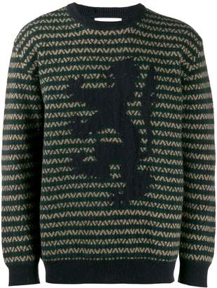 Pringle lion zigzag intarsia sweater
