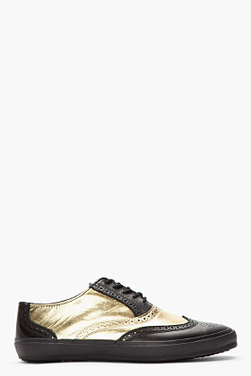 Comme des Garcons Black & Metallic Gold Leather Wingtip Brogue Sneakers