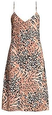 Paige Women's Cicely Silk Faded Leopard Print Dress