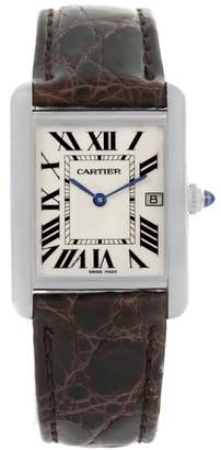 Cartier Tank Louis W1540956 18K White Gold Date 25mm Mens Watch