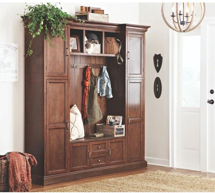 Home Decorators Collection Royce 4-Hook Contemporary Wood All-in-One Mudroom/Hall Tree in Smokey Brown