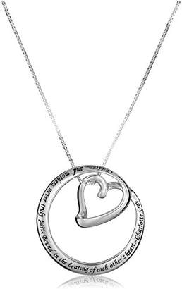 "Sterling ""Children and Mothers Never Truly Part-Bound in the Beating of Each Other's Heart-Charlotte Gray"" Circle Heart Pendant Necklace"