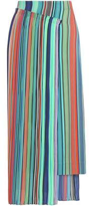 Diane von Furstenberg Wrap-Effect Striped Crepe Midi Skirt