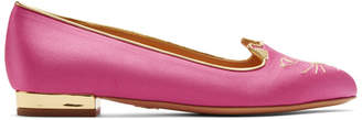 Charlotte Olympia SSENSE Exclusive Pink Satin Kitty Slippers