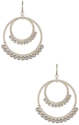 Chan Luu Grey Pearl Wrapped Double Hoop Drop Earrings