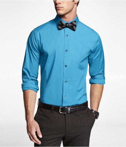 Express 1mx Extra Slim Fit Spread Collar Shirt