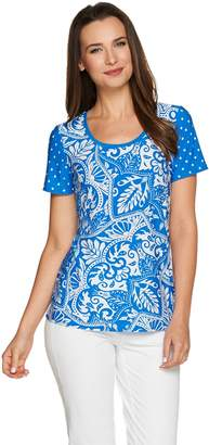 Susan Graver Solid or Printed Liquid Knit Short Sleeve Top
