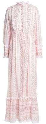 Antik Batik Lace-Trimmed Printed Cotton-Gauze Maxi Dress
