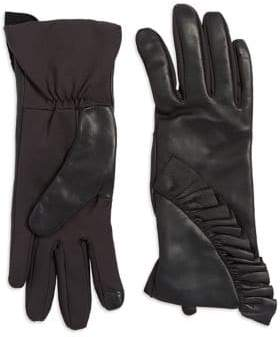 Lord & Taylor Ruffled Leather-Back Touchscreen Gloves