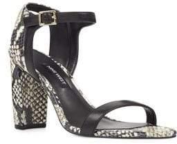 Nine West Nemble Snake Print Leather Ankle-Strap Sandals