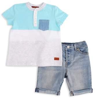 7 For All Mankind Boys' Island Paradise Henley Tee & Denim Shorts Set - Baby