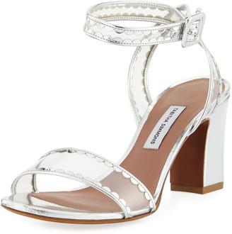Tabitha Simmons Leticia Frill Scallop PVC Block-Heel Sandal