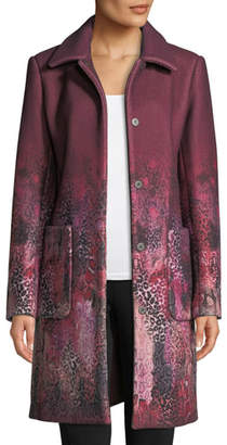 Elie Tahari Tindra Single-Breasted Degrade Animal-Print Wool-Blend Coat