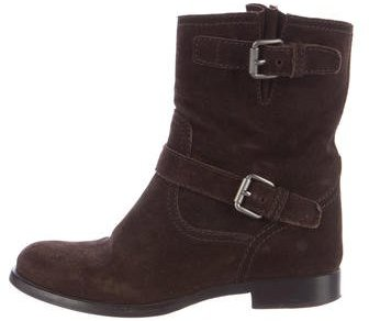 pradaPrada Suede Buckle-Accented Ankle Boots