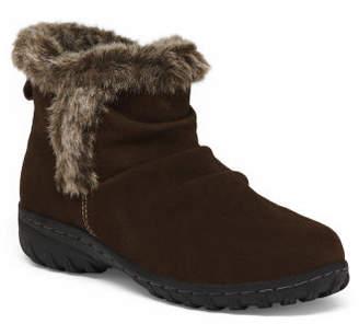 Faux Fur Collar Short Suede Boots