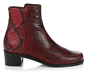 Stuart Weitzman Women's Easyon Reserve Snakeskin-Print Leather Booties