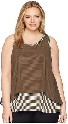 Bobeau B Collection by Plus Size Sydney Stripe Tank Top Women's Sleeveless