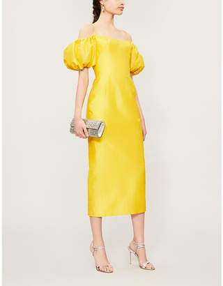 Rasario Off-the-shoulder silk-dupioni corset dress