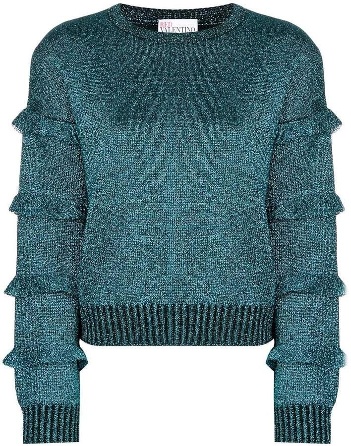 metallic ruffle detail sweater