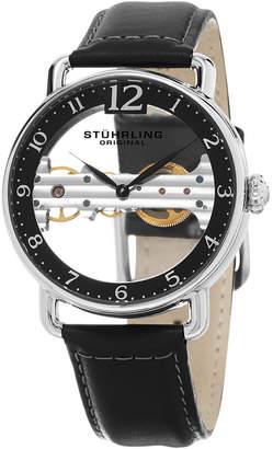 Stuhrling Original Men Mechanical Bridge Watch, Silver Tone Case on Black Genuine Leather Strap, Black Skeletonized Dial with Exposed Bridge Movement, Silver Tone and Black Accents