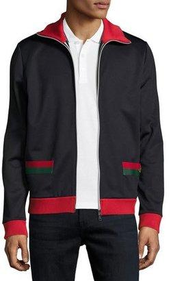 Gucci Web Track Jacket, Navy $760 thestylecure.com