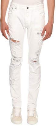 Just Cavalli Slim Distressed-Denim Biker Jeans