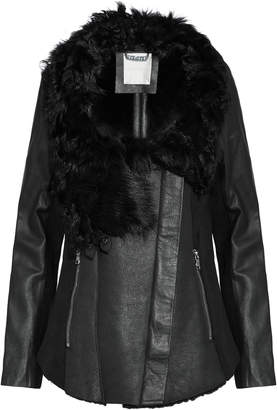 Ashley B. Wool-paneled Shearling And Leather Biker Jacket